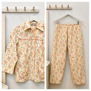 Vintage Ladies Floral Cotton 2pc Pajama Set OrgBlu